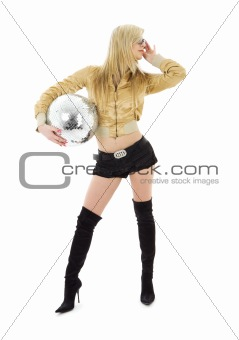 golden jacket girl with disco ball