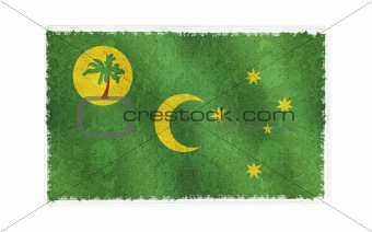 Flag of Cocos Island on old wall background, vector wallpaper, texture, banner, illustration