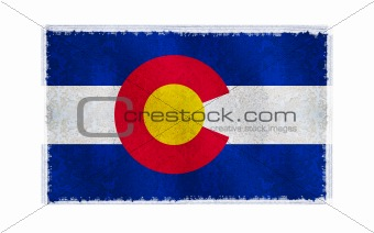 Flag of Colorado on old wall background, vector wallpaper, texture, banner, illustration
