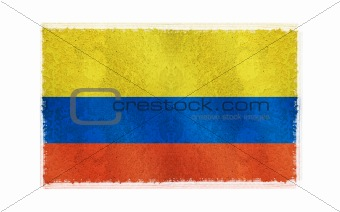 Flag of Columbia on old wall background, vector wallpaper, texture, banner, illustration
