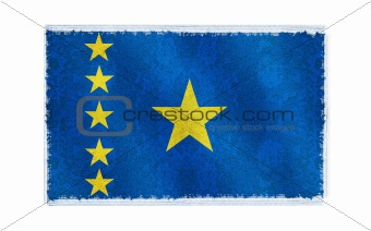 Flag of Congo Democratic Republic on old wall background, vector wallpaper, texture, banner, illustration