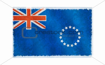 Flag of Cook Island on old wall background, vector wallpaper, texture, banner, illustration