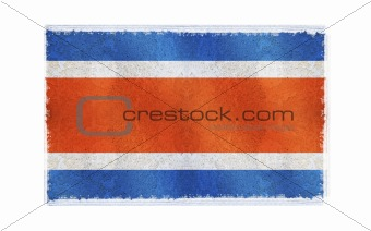 Flag of Costa Rica on old wall background, vector wallpaper, texture, banner, illustration
