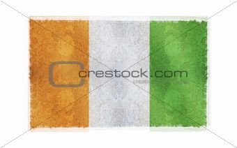 Flag of Cote D'lvoire on old wall background, vector wallpaper, texture, banner, illustration