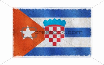 Flag of Cuba Flag on old wall background, vector wallpaper, texture, banner, illustration
