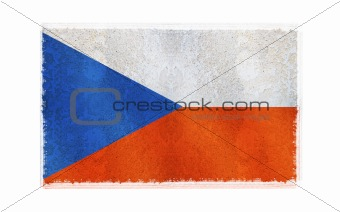 Flag of Czech Republic on old wall background, vector wallpaper, texture, banner, illustration