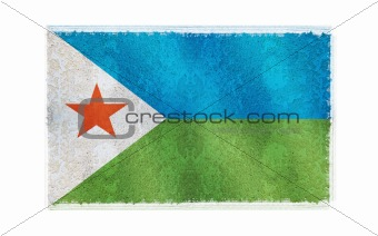 Flag of Djibouti on old wall background, vector wallpaper, texture, banner, illustration