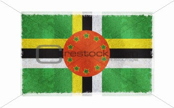 Flag of Dominica on old wall background, vector wallpaper, texture, banner, illustration