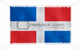 Flag of Dominica Republic on old wall background, vector wallpaper, texture, banner, illustration