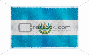 Flag of El Salvador on old wall background, vector wallpaper, texture, banner, illustration