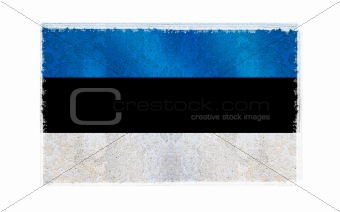 Flag of Estonia on old wall background, vector wallpaper, texture, banner, illustration