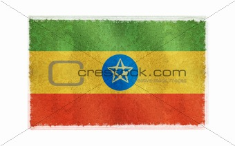 Flag of Ethiopia on old wall background, vector wallpaper, texture, banner, illustration