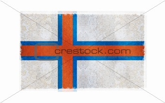 Flag of Faroe Islands on old wall background, vector wallpaper, texture, banner, illustration