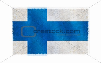 Flag of Finland on old wall background, vector wallpaper, texture, banner, illustration