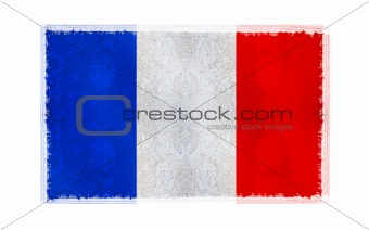 Flag of french on old wall background, vector wallpaper, texture, banner, illustration