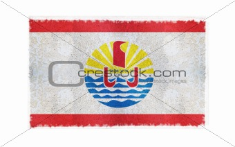 Flag of French Polynesia on old wall background, vector wallpaper, texture, banner, illustration