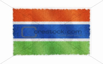 Flag of Gambia Flag on old wall background, vector wallpaper, texture, banner, illustration
