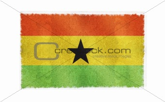 Flag of Ghana on old wall background, vector wallpaper, texture, banner, illustration