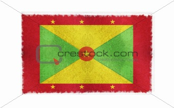 Flag of Grenada on old wall background, vector wallpaper, texture, banner, illustration