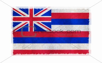 Flag of Hawaii on old wall background, vector wallpaper, texture, banner, illustration