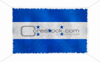 Flag of Honduras on old wall background, vector wallpaper, texture, banner, illustration