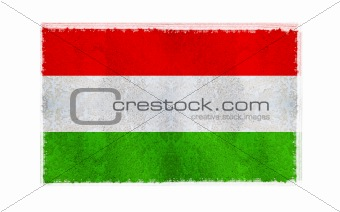 Flag of Hungary on old wall background, vector wallpaper, texture, banner, illustration