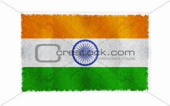 Flag of India on old wall background, vector wallpaper, texture, banner, illustration