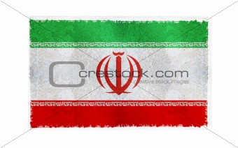 Flag of Iran on old wall background, vector wallpaper, texture, banner, illustration