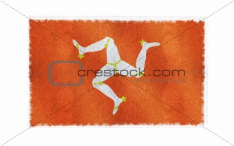 Flag of Isle of Man on old wall background, vector wallpaper, texture, banner, illustration