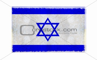 Flag of Israel on old wall background, vector wallpaper, texture, banner, illustration