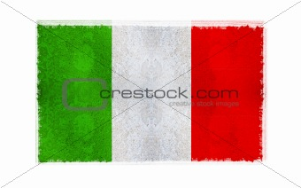 Flag of Italy on old wall background, vector wallpaper, texture, banner, illustration