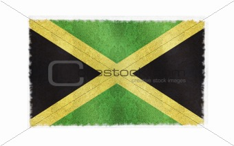 Flag of Jamaica on old wall background, vector wallpaper, texture, banner, illustration