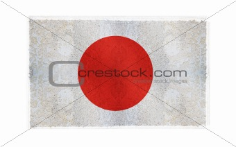 Flag of Japan on old wall background, vector wallpaper, texture, banner, illustration