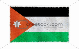 Flag of Jordan on old wall background, vector wallpaper, texture, banner, illustration