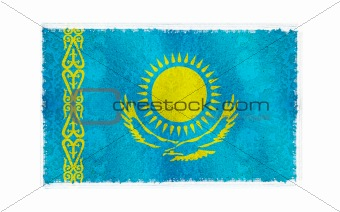 Flag of Kazakhistan on old wall background, vector wallpaper, texture, banner, illustration