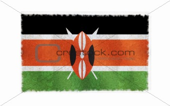 Flag of Kenya on old wall background, vector wallpaper, texture, banner, illustration