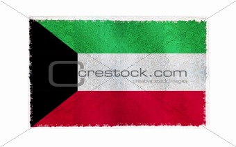 Flag of Kuwait on old wall background, vector wallpaper, texture, banner, illustration