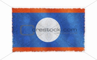 Flag of Laos on old wall background, vector wallpaper, texture, banner, illustration