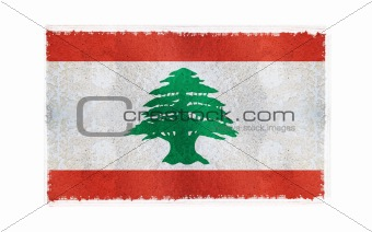 Flag of Lebanon on old wall background, vector wallpaper, texture, banner, illustration