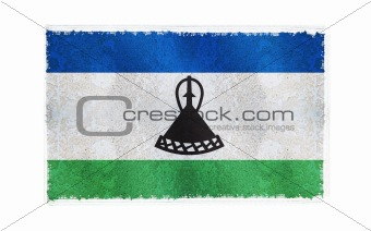 Flag of Lesotho on old wall background, vector wallpaper, texture, banner, illustration