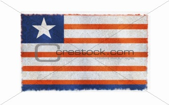 Flag of Liberia on old wall background, vector wallpaper, texture, banner, illustration