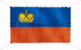 Flag of Liechtenstein on old wall background, vector wallpaper, texture, banner, illustration