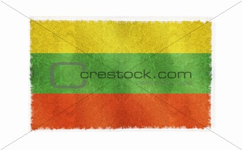 Flag of Lithuania on old wall background, vector wallpaper, texture, banner, illustration