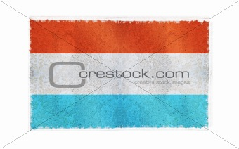 Flag of Luxembourg on old wall background, vector wallpaper, texture, banner, illustration