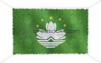 Flag of Macau on old wall background, vector wallpaper, texture, banner, illustration