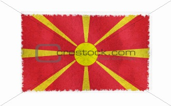 Flag of Macedonia on old wall background, vector wallpaper, texture, banner, illustration