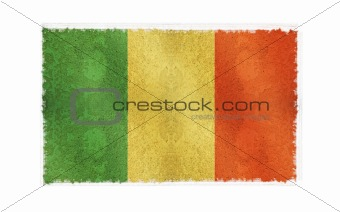 Flag of Mali on old wall background, vector wallpaper, texture, banner, illustration