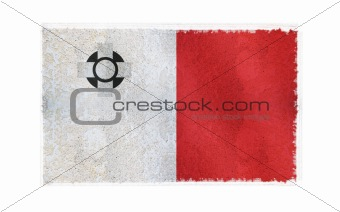 Flag of Malta on old wall background, vector wallpaper, texture, banner, illustration
