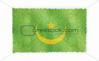 Flag of Mauritania on old wall background, vector wallpaper, texture, banner, illustration
