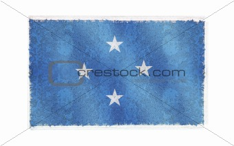 Flag of Micronesia on old wall background, vector wallpaper, texture, banner, illustration